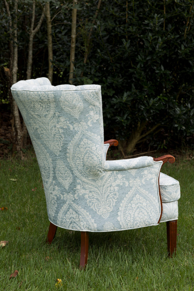 Side of new chair upholstery