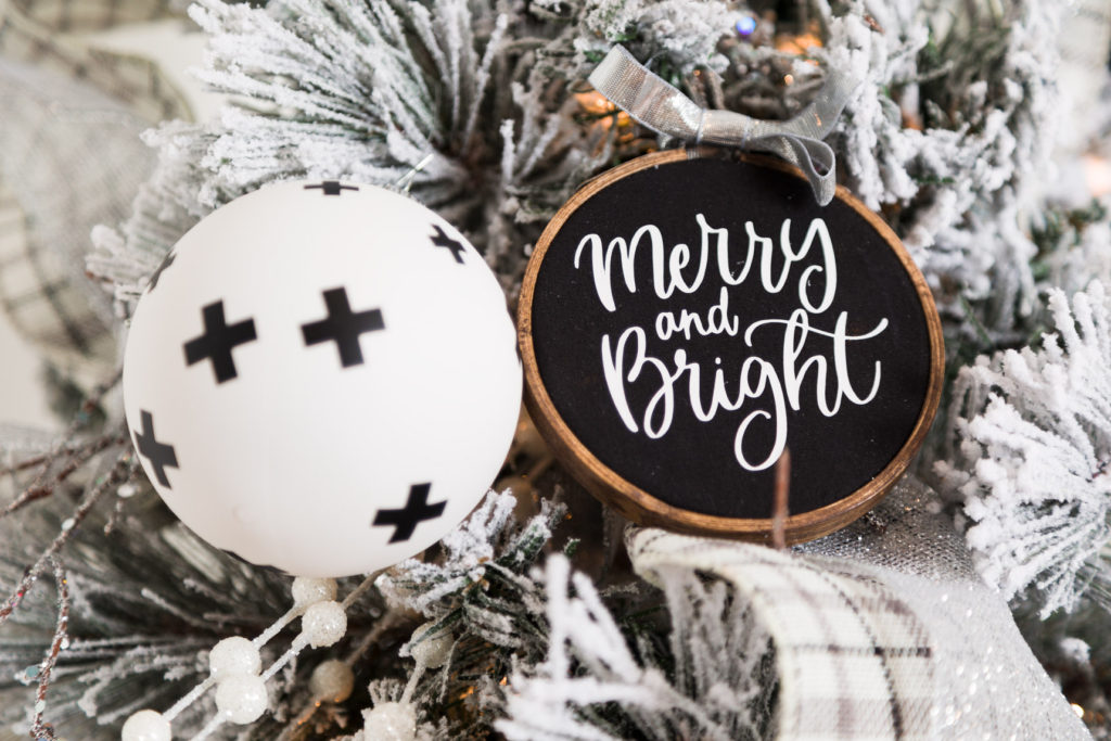 Merry and bright hoop ornament