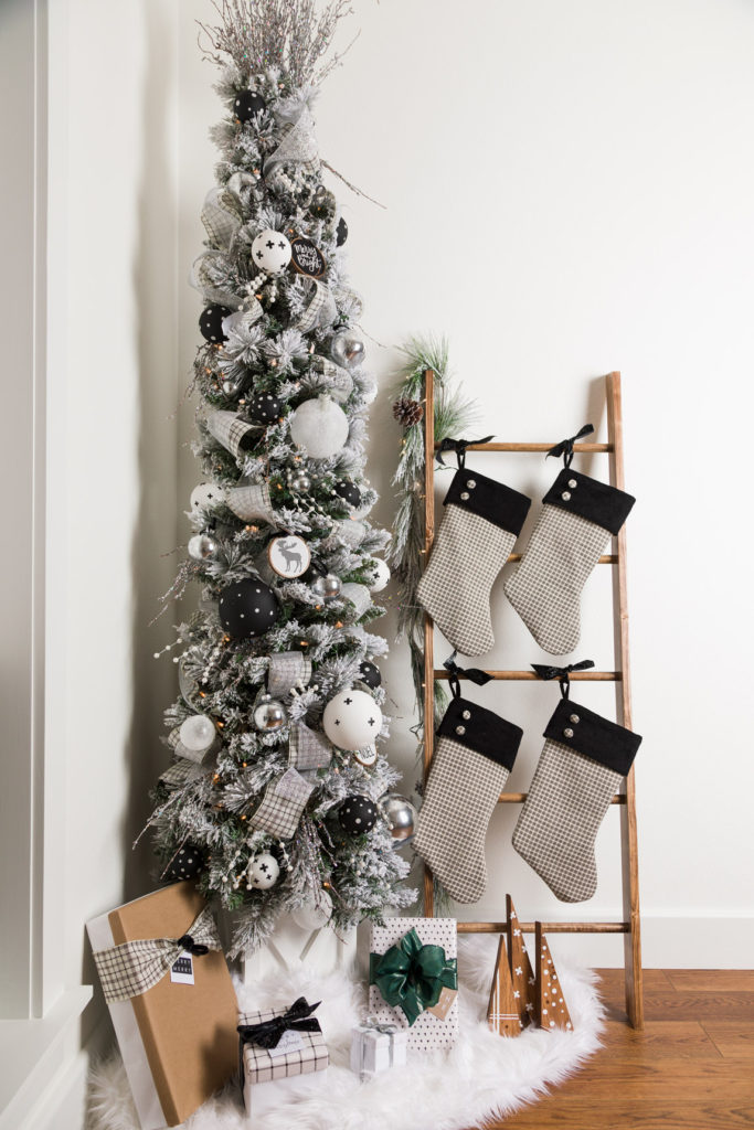 Modern Farmhouse DIY Christmas Tree, stockings, tree stand Christmas home tour