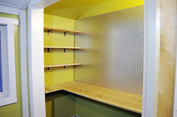 Workbench and custom shelves