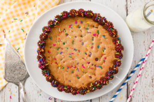 Chocolate Chip Cookie Cake with chocolate icing