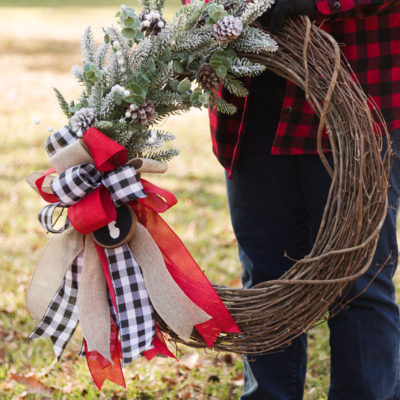 DIY Christmas wreath and ribbon bow
