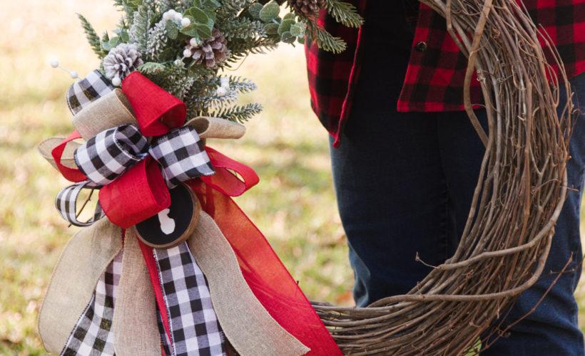 DIY Christmas wreath and ribbon bow
