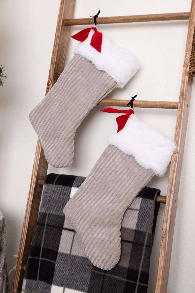 Handmade Stockings, DIY rustic farmhouse blanket ladder