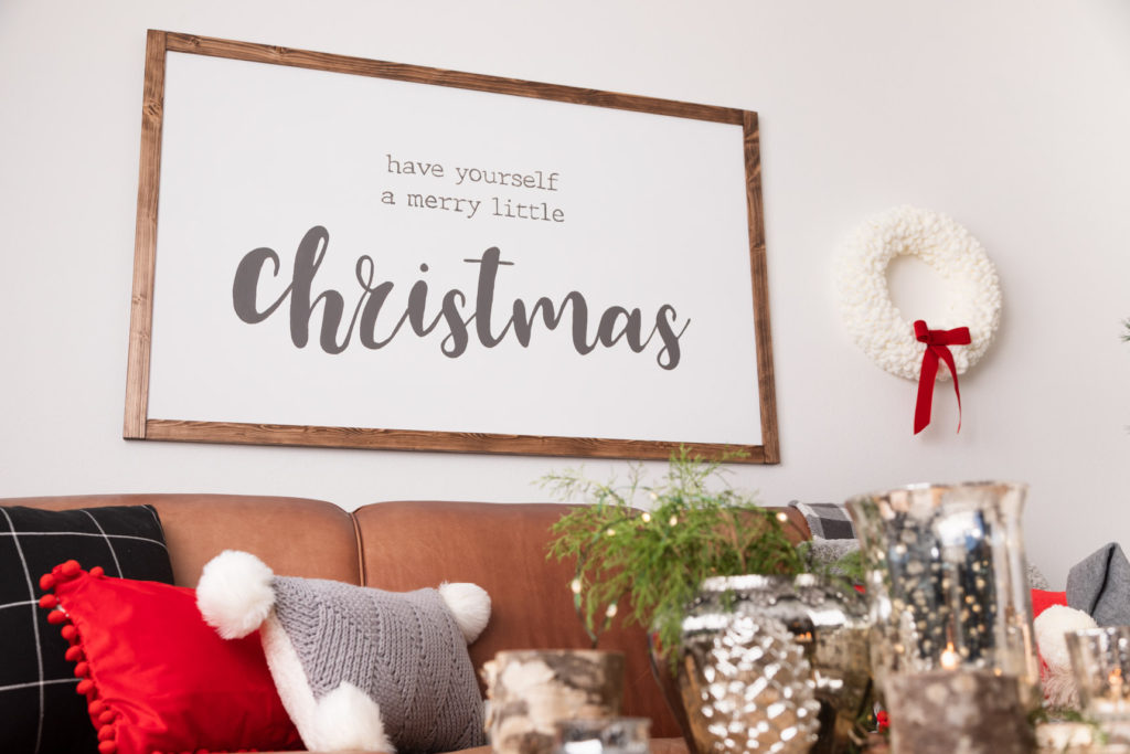 DIY hand painted rustic farmhouse Christmas sign