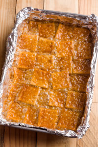 Caramelized saltine crackers after baking