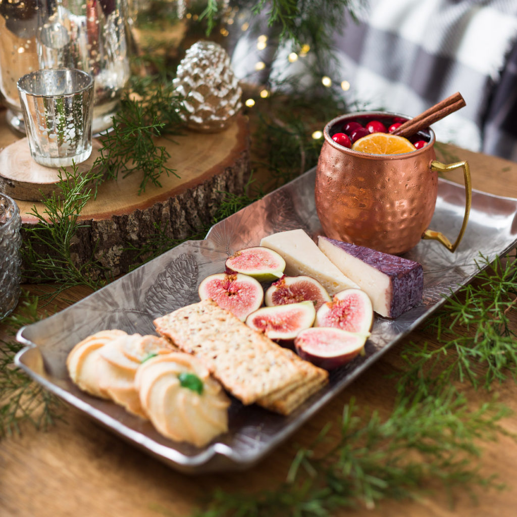 Christmas Moscow Mule Cocktails and cheese tray