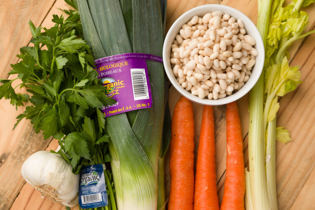 Fresh vegetables and beans for soup