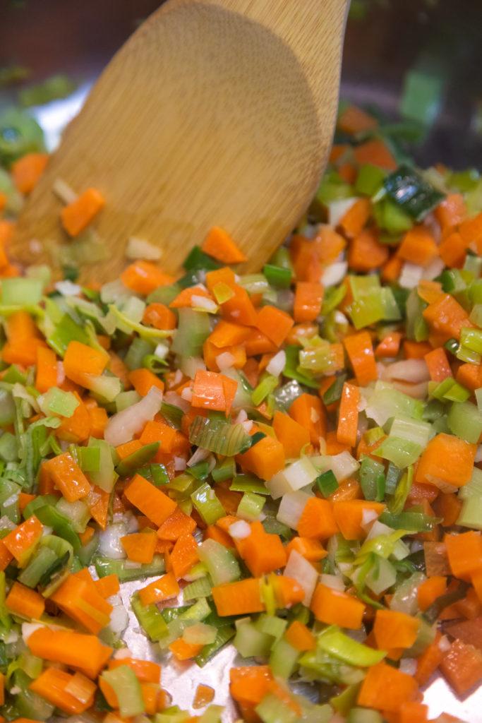 Sauteing soup vegetables