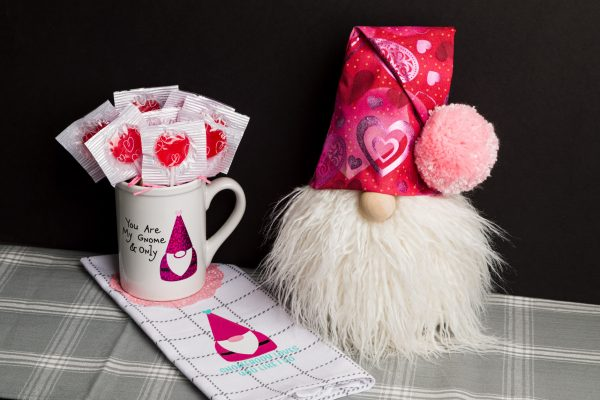 Valentine Gnome and vinyl decal tea towel and mug