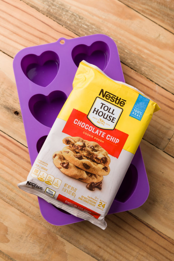 Heart baking pan and cut and bake chocolate chip cookies
