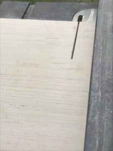 "Ripping 3/4"" plywood strips 1.5"" wide for internal frame"