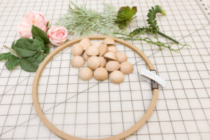 Supplies to make a split ball wreath with peonies and succulents