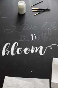 Painting my design on the chalkboard