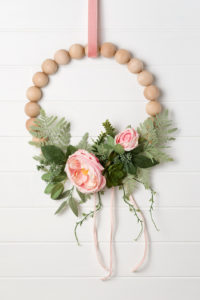 Peony and wood bead wreath