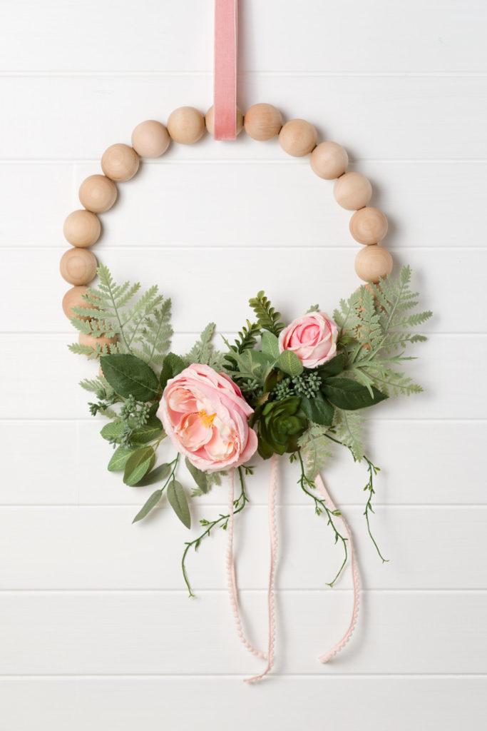 Peony and wood bead wreath