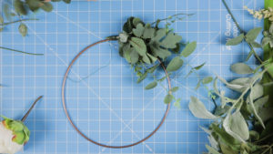 Attaching the greenery bundle with wire