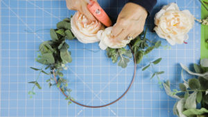 Adding peonies to the hoop form