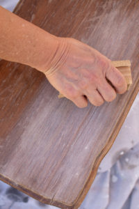 Sanding the old finish