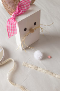 Wooden Bunny with lace, pom pom and button supplies