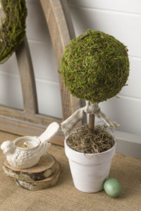 Moss topiary tree with ribbon tie