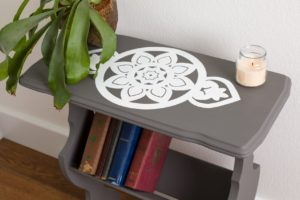 Chalk painted side table with Mandala stencil