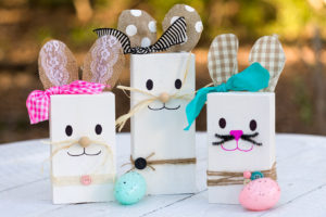 Wooden bunny from 2 x 4 scrapsand Easter eggs