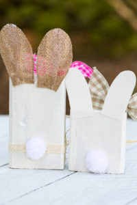 Block Easter Bunnies with handmade pom pom tails