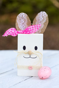 DIY wooden Easter Bunny with burlap ribbon ears and pink check ribbon