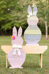 Reclaimed Easter Bunny with ribbon bow