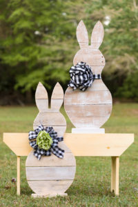 Reclaimed Wood Easter Bunnies With Buffalo Check Bows
