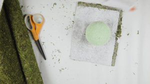 Moss square and round foam ball for topiary