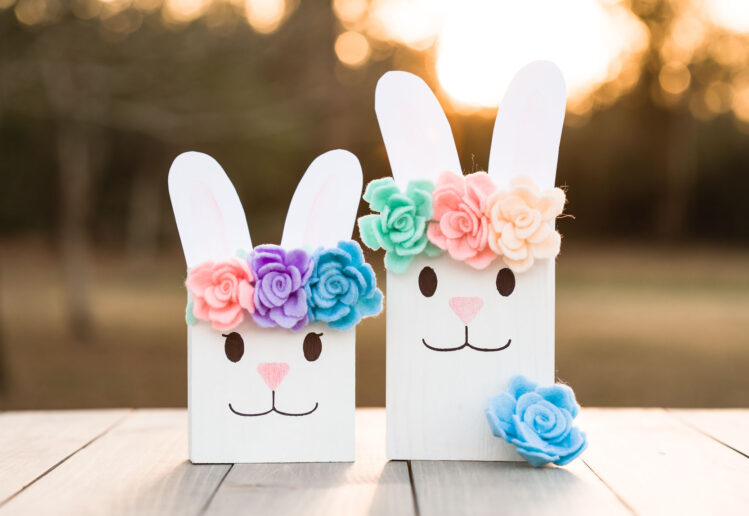 Scrap Wood Bunnies with Flowers