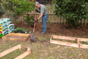 Lining up the raised bed frames