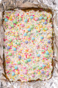 Easter Crack Candy in the baking pan