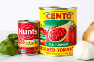 Simple Store-bought canned tomatoes and fresh ingredients