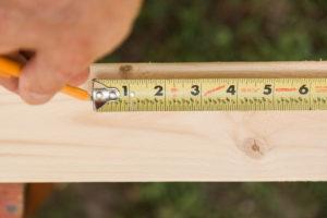 Measure lumber for coat hooks