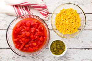 Tomatoes, chilies and corn for taco soup