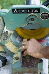 Use a chop saw to cut trim pieces