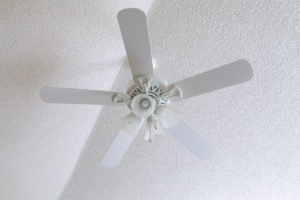 Popcorn ceiling and ceiling fan