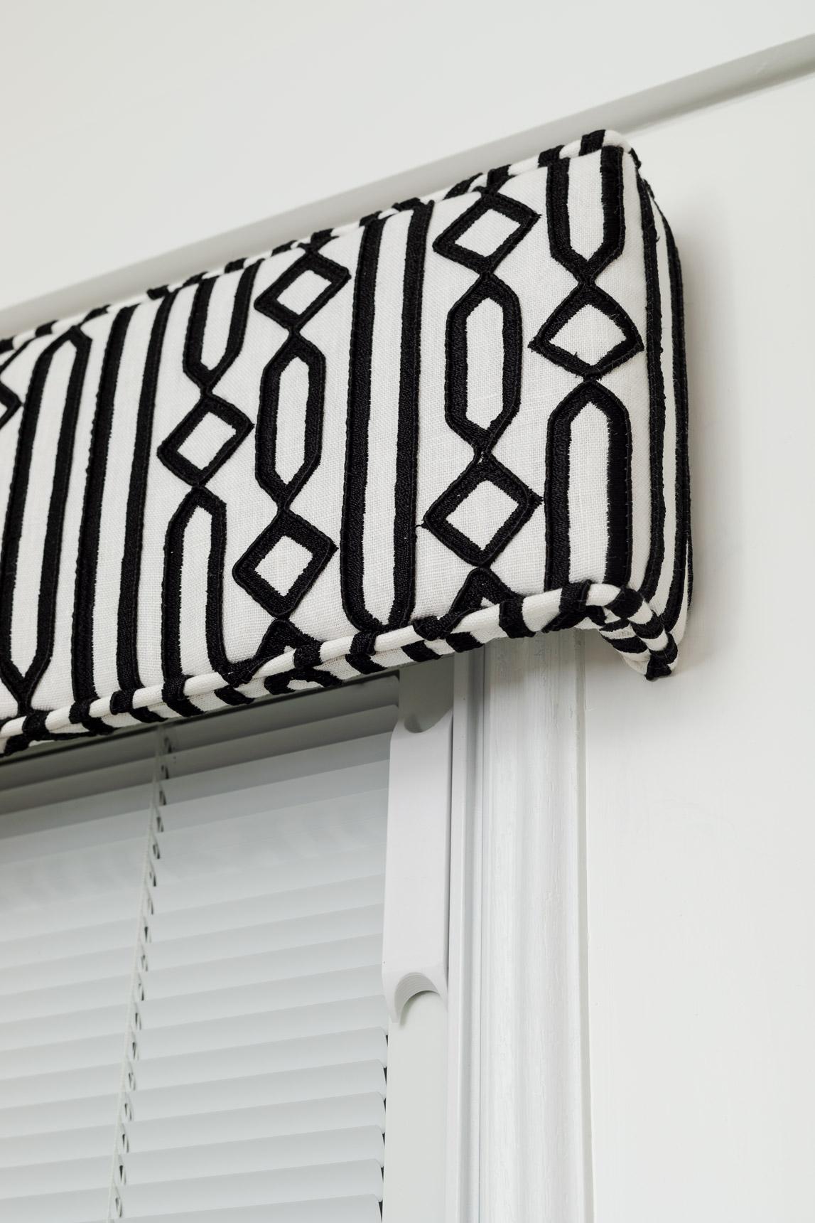 Cornice installed on door window