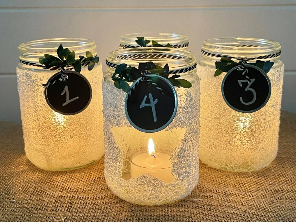 Christmas Candle holders with candles on table