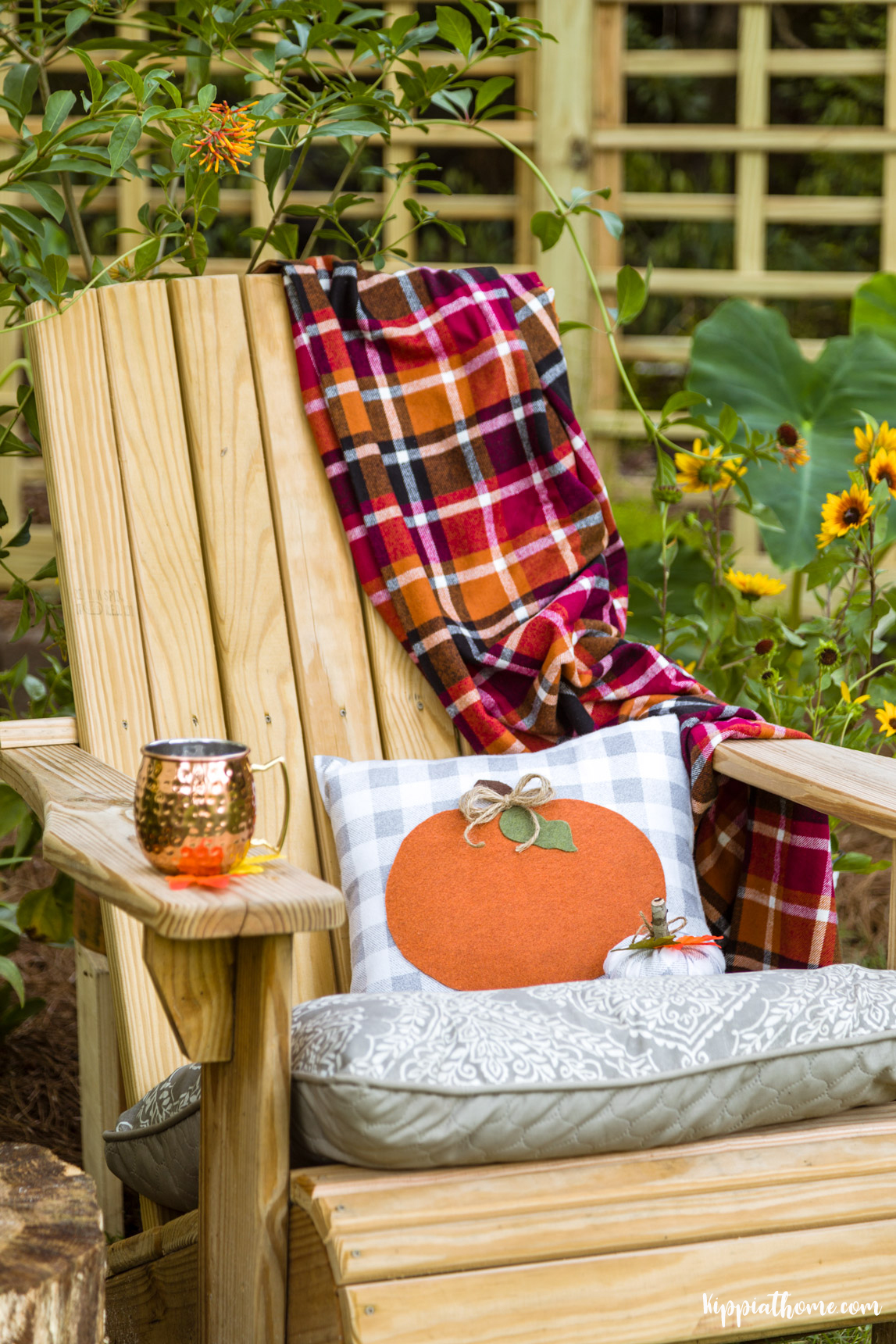 Chair with Pumpkin Pillow and throw
