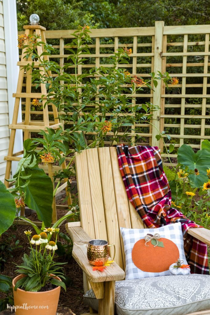 Chair with pumpkin pillow, trellis and obelisk