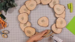Gluing the wood slices