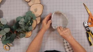 Making loops to make a wreath bow