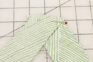 With right sides together pin bias strips
