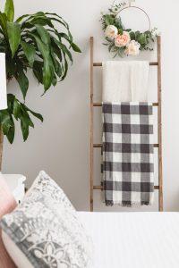 The DIY Hoop Wreath is perfect in our bedroom