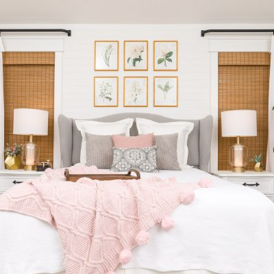 Bedroom Makeover with DIY headboard wingback