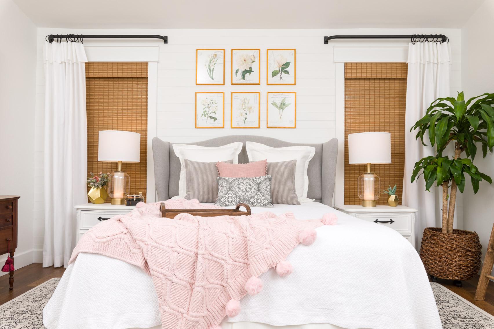 Bedroom Makeover with DIY headboard wingback